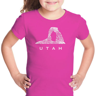 Los Angeles Pop Art Utah Short Sleeve Graphic T-Shirt Girls