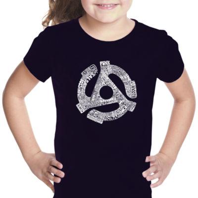 Los Angeles Pop Art Record Adapter Short Sleeve Girls Graphic T-Shirt