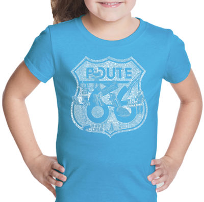 Los Angeles Pop Art Stops Along Route 66 Short Sleeve Graphic T-Shirt Girls