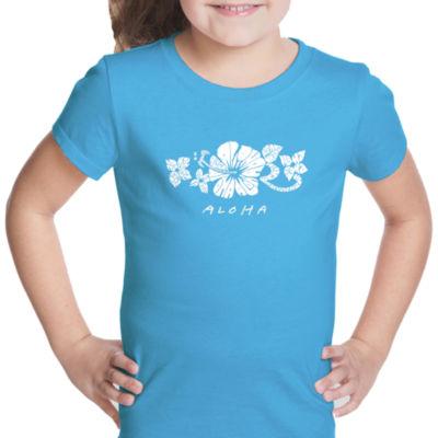 Los Angeles Pop Art Aloha Short Sleeve Girls Graphic T-Shirt