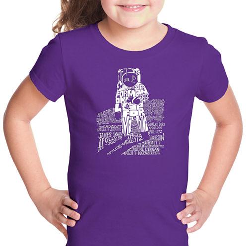 Los Angeles Pop Art Astronaut Short Sleeve Graphic T-Shirt Girls