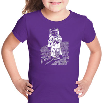 Los Angeles Pop Art Astronaut Short Sleeve Girls Graphic T-Shirt