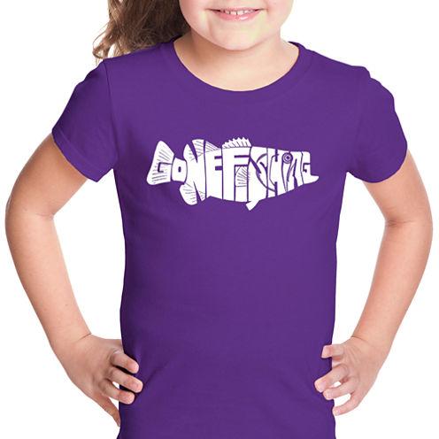 Los Angeles Pop Art Bass - Gone Fishing Short Sleeve Graphic T-Shirt Girls