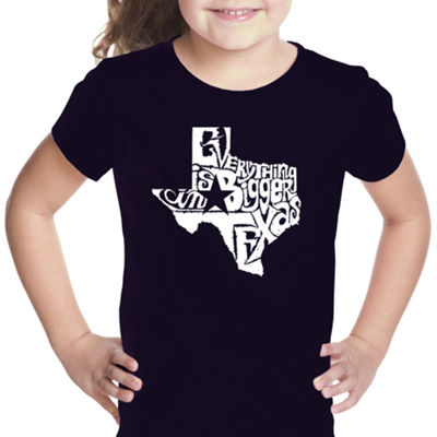 Los Angeles Pop Art Everything Is Bigger In Texas Short Sleeve Graphic T-Shirt Girls