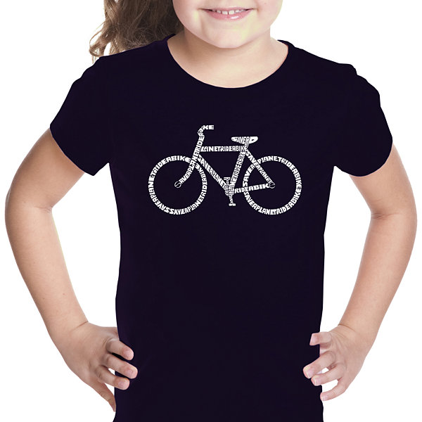 Los Angeles Pop Art Save A Planet; Ride A Bike Short Sleeve Girls Graphic T-Shirt