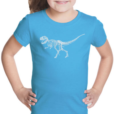 Los Angeles Pop Art Dinosaur T-Rex Skeleton Short Sleeve Graphic T-Shirt Girls