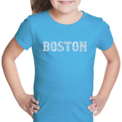 Los Angeles Pop Art Boston Neighborhoods Short Sleeve Girls Graphic T-Shirt