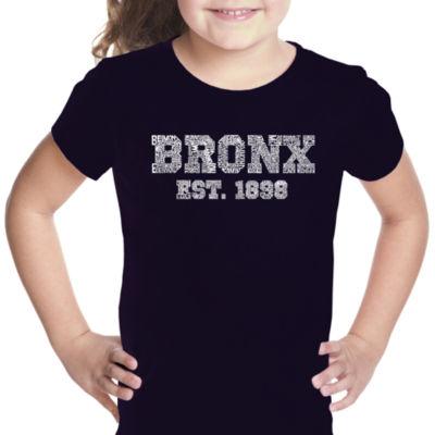 Los Angeles Pop Art Popular Neighborhoods In Bronx; Ny Short Sleeve Girls Graphic T-Shirt