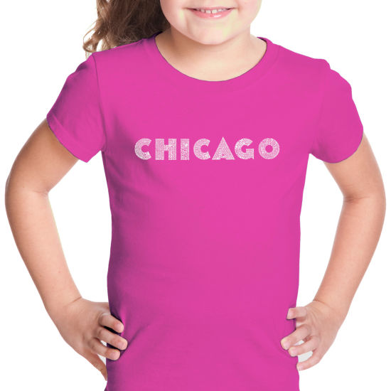 Los Angeles Pop Art Chicago Neighborhoods Short Sleeve Girls Graphic T-Shirt