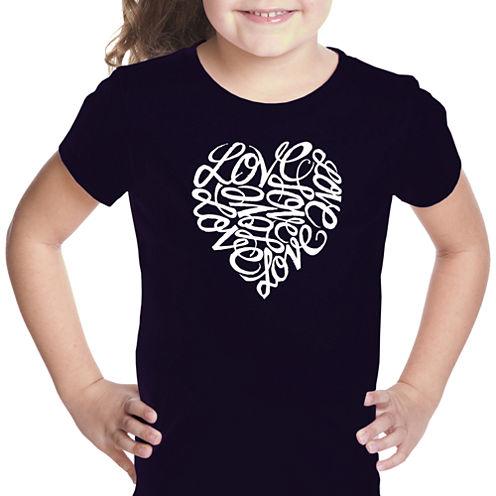 Los Angeles Pop Art Love Short Sleeve Graphic T-Shirt Girls