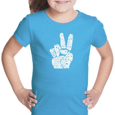 Los Angeles Pop Art Peace Fingers Short Sleeve Graphic T-Shirt Girls