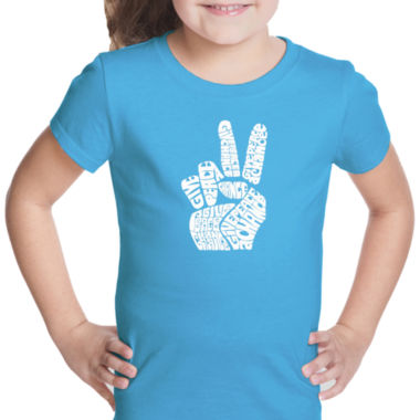 Los Angeles Pop Art Peace Fingers Short Sleeve Girls Graphic T-Shirt