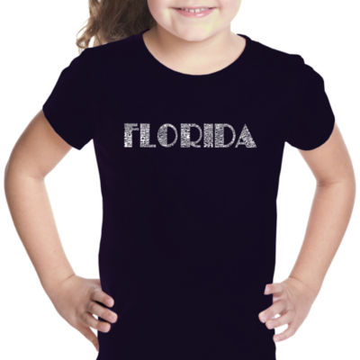 Los Angeles Pop Art Popular Cities In Florida Short Sleeve Girls Graphic T-Shirt