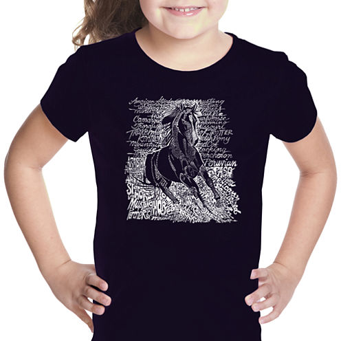 Los Angeles Pop Art Popular Horse Breeds Short Sleeve Graphic T-Shirt Girls