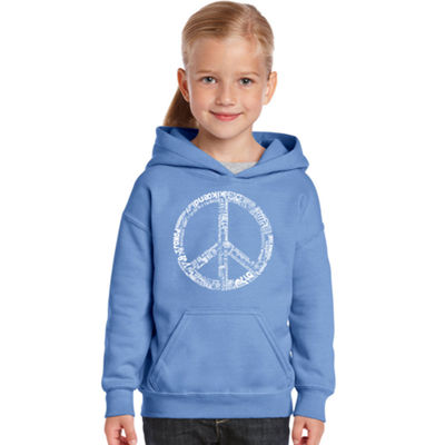 Los Angeles Pop Art The Word Peace In 77 Languages Long Sleeve Sweatshirt Girls