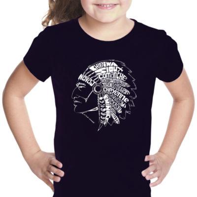 Los Angeles Pop Art Popular Native American IndianTribes Short Sleeve Girls Graphic T-Shirt