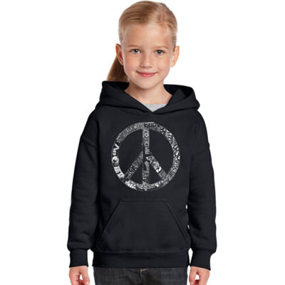 Los Angeles Pop Art Peace; Love; & Music Long Sleeve Sweatshirt Girls