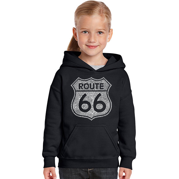 Los Angeles Pop Art Cities Along The Legendary Route 66 Long Sleeve Girls Word Art Hoodie