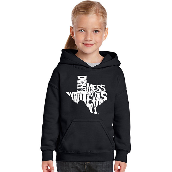 Los Angeles Pop Art Dont Mess With Texas Long Sleeve Girls Word Art Hoodie