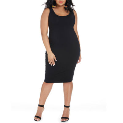 Fashion To Figure Everyday Sleeveless Midi Bodycon Dress-Plus
