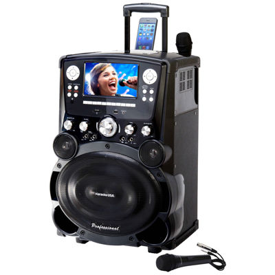 """Karaoke USA GP978 Professional DVD/CD+G/MP3+G Player with 7"""" Color TFT Display, Record, Bluetooth and Tote Wheels"""
