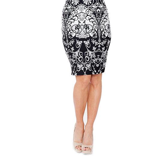 White Mark Womens Mid Rise Stretch Midi Pencil Skirt