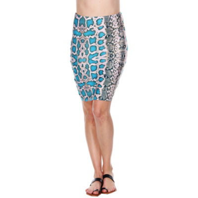 White Mark Stretchy Material Womens Mid Rise Stretch Midi Pencil Skirt