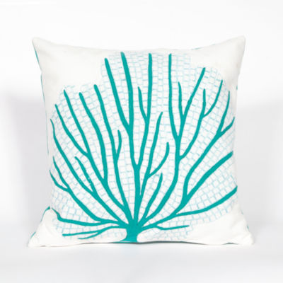 Liora Manne Visions Iii Coral Fan Square Outdoor Pillow