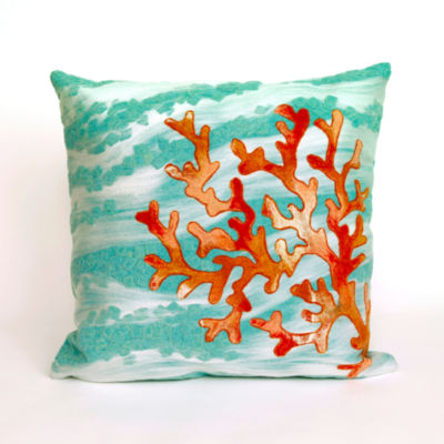 Liora Manne Visions Iii Coral Wave Square Outdoor Pillow