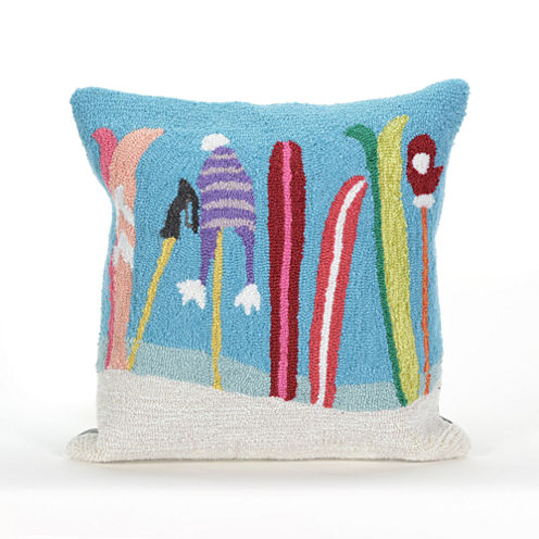Liora Manne Frontporch Gone Skiing Square Outdoor Pillow