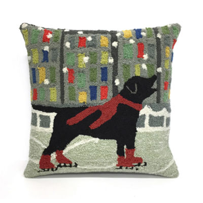 Liora Manne Frontporch Holiday Ice Dog Square Outdoor Pillow