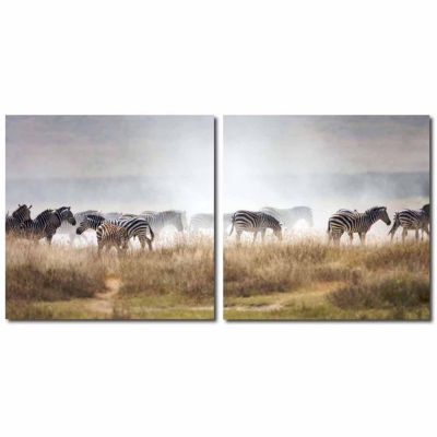 A Zeal of Zebras Mounted  2-pc. Photography PrintDiptych Set
