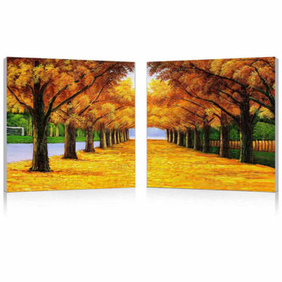 Autumnal Boulevard Mounted Print Diptych 2-pc. Photography Print Diptych Set