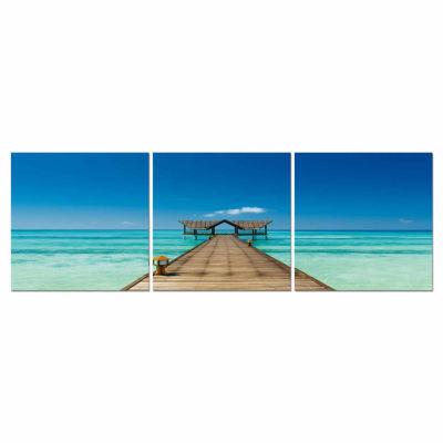 Baxton Studio Azure Tropics Mounted  3-pc. Photography Print Triptych Set