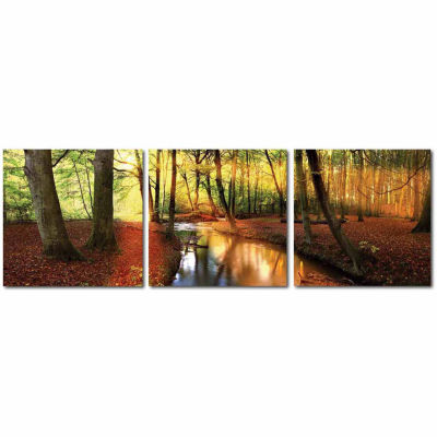 Baxton Studio Forest Oasis Mounted  3-pc. Photography Print Triptych Set