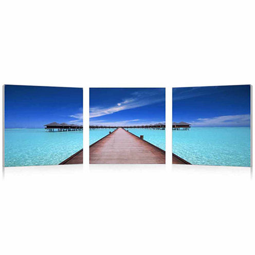 Baxton Studio Overwater Bungalow Mounted  3-pc. Photography Print Triptych Set