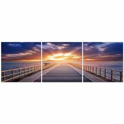 Baxton Studio Pier Sunrise Mounted  3-pc. Photography Print Triptych Set
