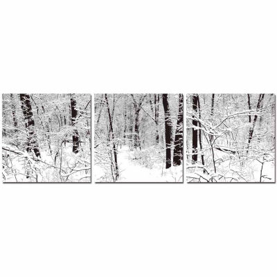 Baxton Studio Winter Woods Mounted  3-pc. Photography Print Triptych Set