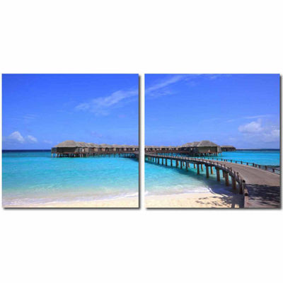 Bridge to Paradise Mounted  2-pc. Photography Print Diptych Set
