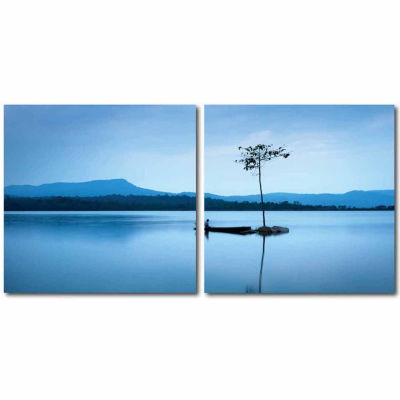 Cerulean Stillness Mounted  2-pc. Photography Print Diptych Set