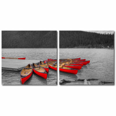 Crimson Canoes Mounted  2-pc. Photography Print Diptych Set