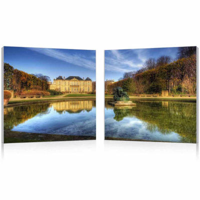 French Chateaux Mounted  2-pc. Photography Print Diptych Set