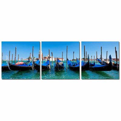 Gondola Fleet Mounted  3-pc. Photography Print Triptych Set