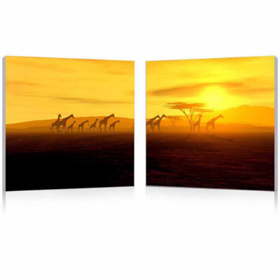 Glorious Giraffes Mounted  2-pc. Photography PrintDiptych Set