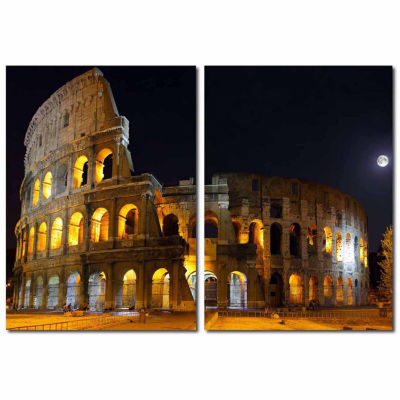 Illuminated Coliseum Mounted  2-pc. Photography Print Diptych Set