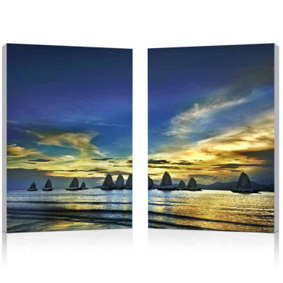 Sunset Sails Mounted  2-pc. Photography Print Diptych Set