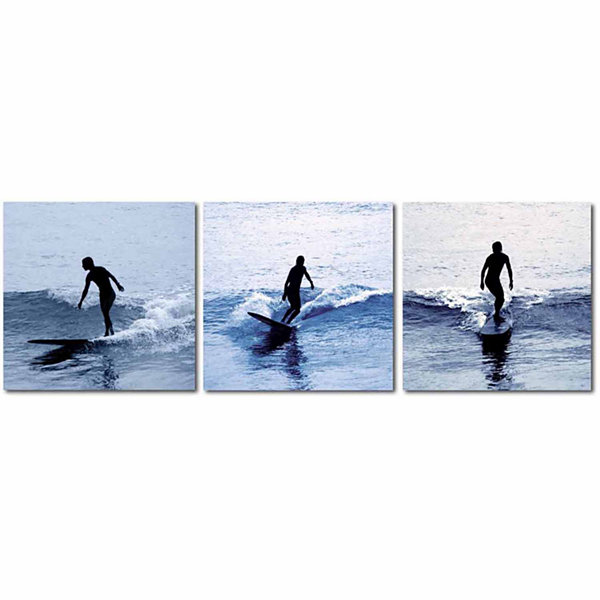 Surf Silhouettes Mounted  3-pc. Photography PrintTriptych Set