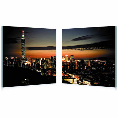 Taipei Skyline Mounted  2-pc. Photography Print Diptych Set