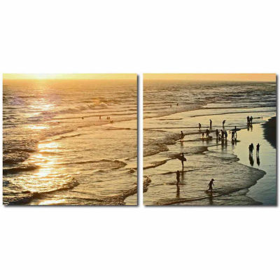Wading in the Waves Mounted  2-pc. Photography Print Diptych Set