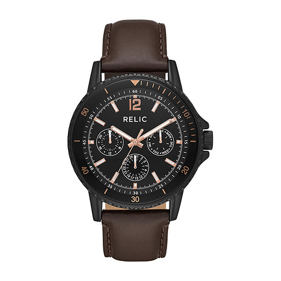 Relic By Fossil Liam Mens Brown Strap Watch-Zr15969